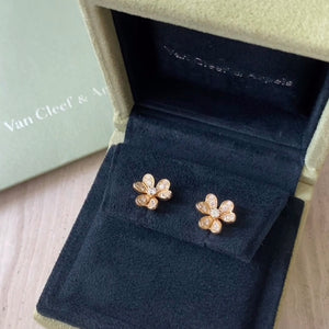 VAN CLEEF & ARPELS Frivole Mini Model Pavé Diamond Stud Earrings - Dearluxe.com