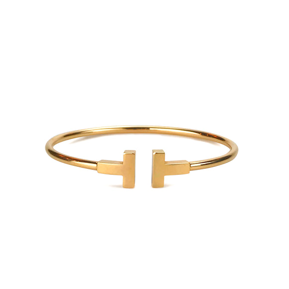 TIFFANY & CO. T Wire Bracelet Regular Size Small in 18k Rose Gold - Dearluxe.com