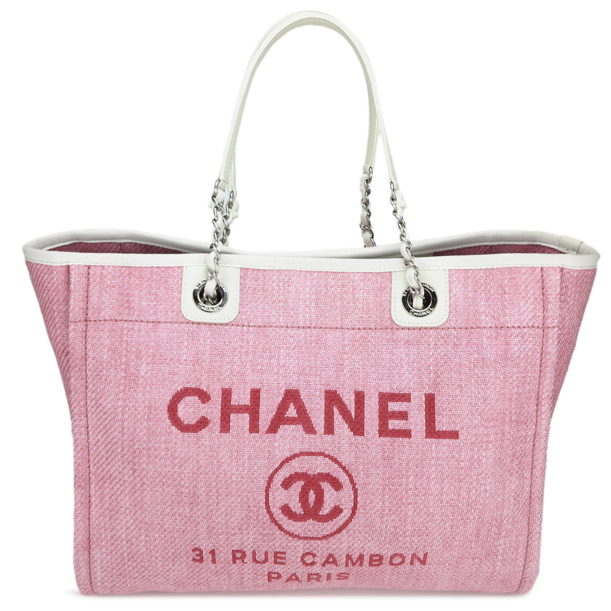 021791f3f748 CHANEL Small Deauville Tote in Pink Canvas - Dearluxe.com ...