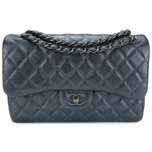 CHANEL Jumbo Classic Double Flap Bag in Pearly Charcoal Caviar - Dearluxe.com
