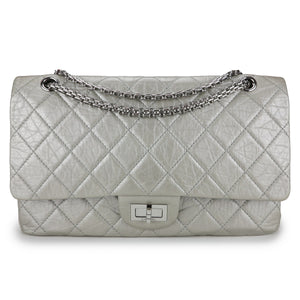 CHANEL 2.55 Reissue Flap Bag Size 227 in Cream SIlver Aged Calfskin - Dearluxe.com