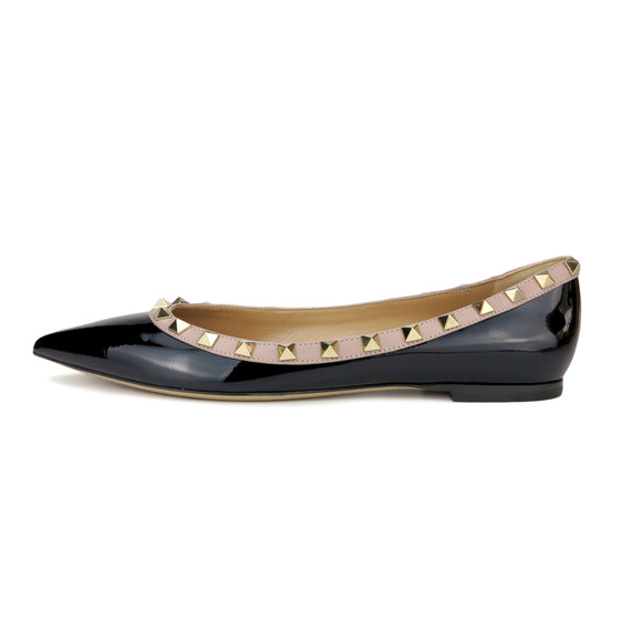 VALENTINO Rockstud Flats in Black Patent Leather - Dearluxe.com