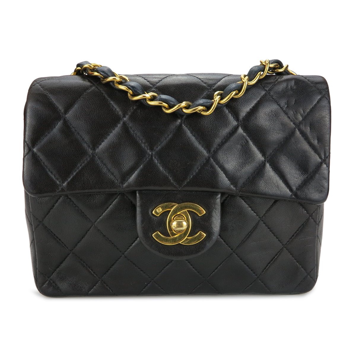 a50cc5984a7930 CHANEL Vintage Classic Mini Square Flap Bag in Black Lambskin -  Dearluxe.com ...