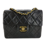 CHANEL Vintage Classic Mini Square Flap Bag in Black Lambskin - Dearluxe.com