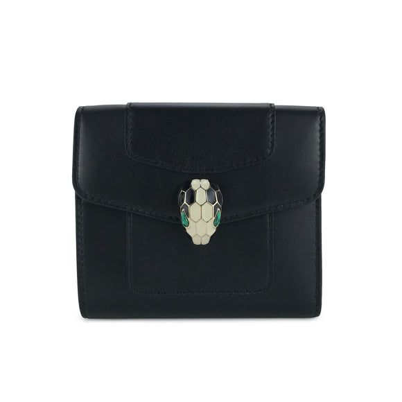 BVLGARI Serpenti Forever Continental Compact Wallet in Black and Emerald Green Calf Leather - Dearluxe.com