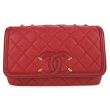 CHANEL Small CC Filigree Flap Bag in Red Caviar - Dearluxe.com