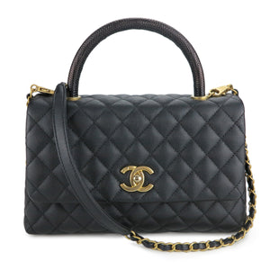 CHANEL Small Coco Handle Bag with Lizard Handle in Black Caviar - Dearluxe.com