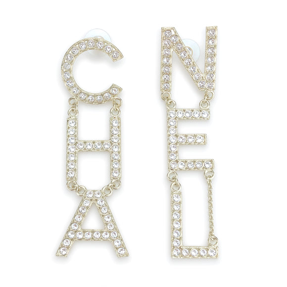 CHANEL Crystal Letter Logo Statement Dangle Earrings - Dearluxe.com