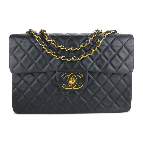 CHANEL Maxi Jumbo Vintage Classic XL Logo Single Flap Bag in Black Lambskin Leather - Dearluxe.com