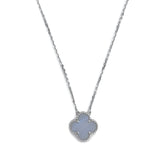 Vintage Alhambra Pendant Necklace in 18k White Gold Chalcedony