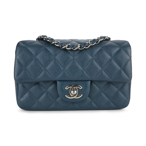 CHANEL Mini Rectangular Flap Bag in Pearly Blue Caviar - Dearluxe.com