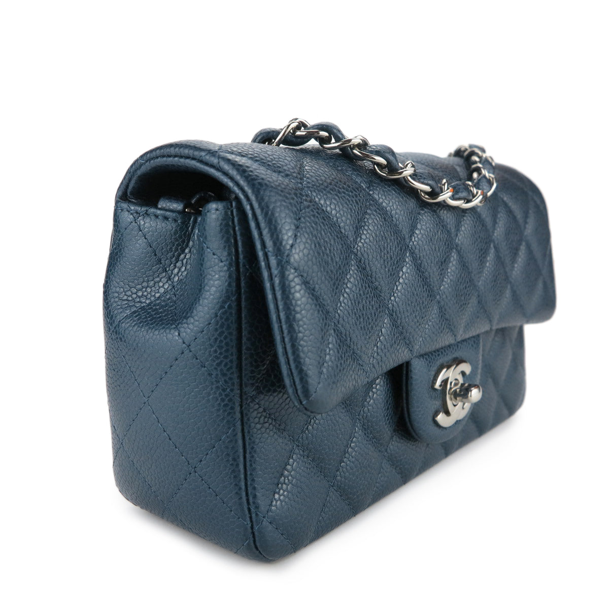 e35d76dbe04a CHANEL Mini Rectangular Flap Bag in Pearly Blue Caviar | Dearluxe