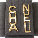CHANEL Metal CHA-NEL Letter Logo Statement Dangle Earrings - Dearluxe.com