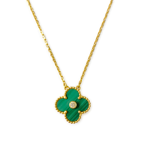 VAN CLEEF & ARPELS Vintage Alhambra 2013 Holiday Diamond Pendant Necklace in Malachite 18k Yellow Gold - Dearluxe.com