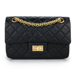 CHANEL 2.55 Mini Reissue Flap Bag Size 224 in Black Aged Calfskin - Dearluxe.com