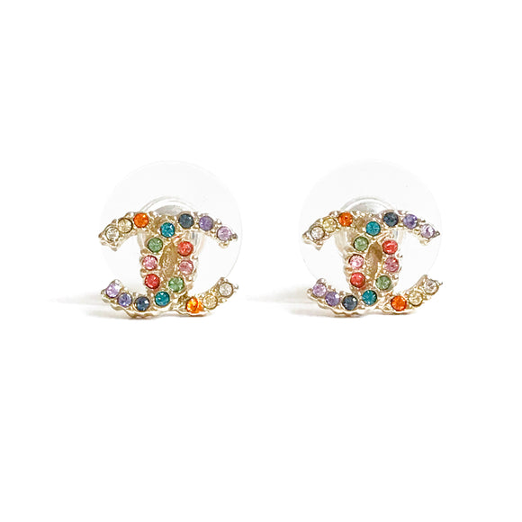 CHANEL Rainbow Crystal Mini CC Logo Stud Earrings - Dearluxe.com