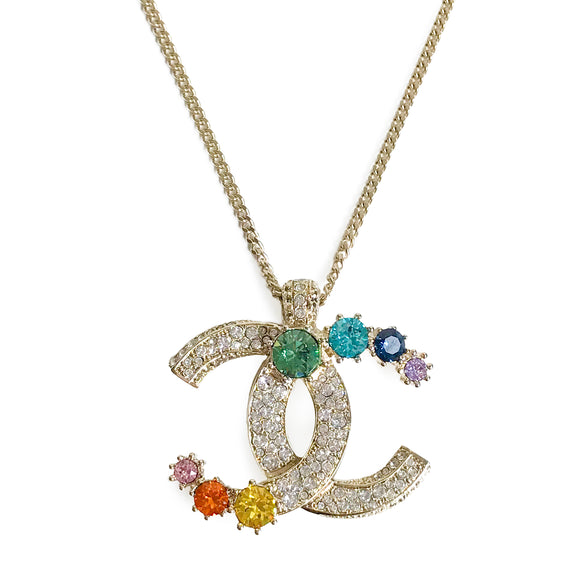 CHANEL Rainbow Crystal Oversized CC Logo Necklace - Dearluxe.com