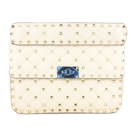 Valentino Small Rockstud Spike Quilted Shoulder Bag in Ivory | Dearluxe.com
