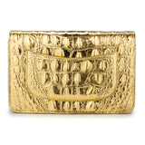 CHANEL Wallet On Chain WOC in Gold Croc Embossed Calfskin - Dearluxe.com