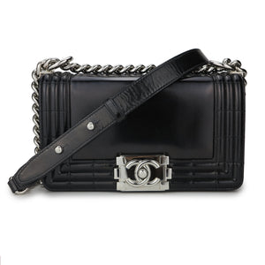 CHANEL Small Quilted Letter Logo Boy Bag in Black Patent - Dearluxe.com