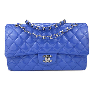 CHANEL Medium Classic Double Flap Bag in Periwinkle Blue Patent Leather - Dearluxe.com