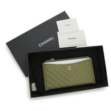 CHANEL Long Flat Wallet Pouch in Khaki Green - Dearluxe.com