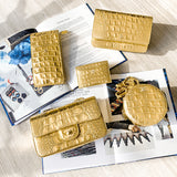 Wallet On Chain WOC in Gold Croc Embossed Calfskin