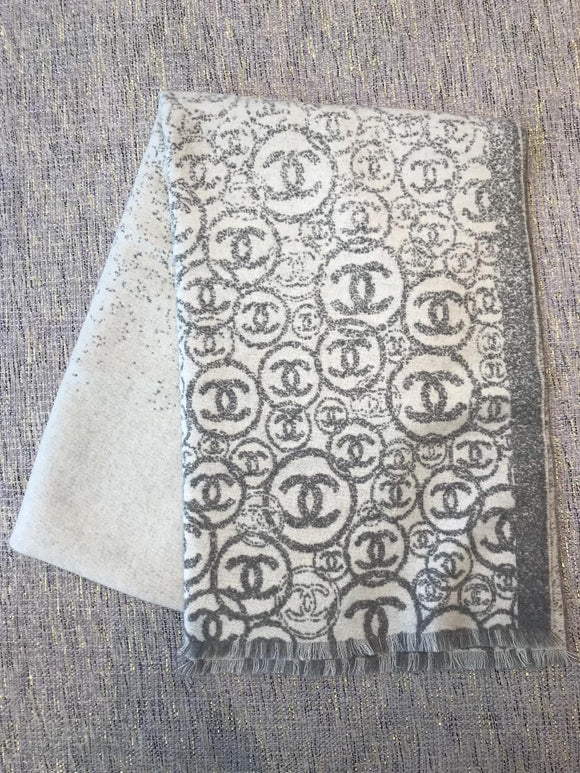 Multiple CC Logo Cashmere Shawl in Grey Ivory