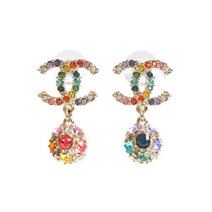 CHANEL Rainbow Crystal CC Logo Gumdrop Earrings - Dearluxe.com