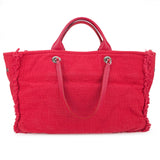 CHANEL Oversized Logo Large Shopping Tote Bag in Fuschia Hot Pink Jersey - Dearluxe.com