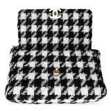 CHANEL 19 Medium Flap Bag in Black And White Houndstooth Tweed - Dearluxe.com