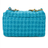 CHANEL CHANEL 19 Small Flap Bag in Turquoise Houndstooth Tweed | Dearluxe.com