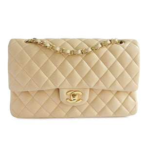 CHANEL Medium Classic Double Flap Bag in Beige Lambskin - Dearluxe.com