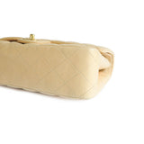 Medium Classic Double Flap Bag in Beige Lambskin