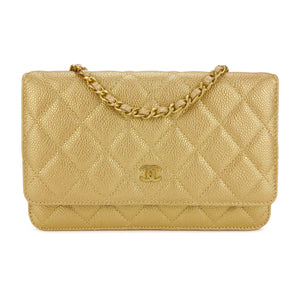 CHANEL Wallet On Chain WOC in Pearly Gold Caviar - Dearluxe.com