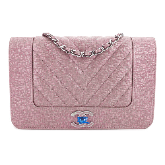 CHANEL Mademoiselle Wallet On Chain WOC in Rose Gold Caviar - Dearluxe.com