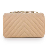 CHANEL Mini Chevron Statement Flap in Iridescent Beige Caviar - Dearluxe.com