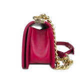 Small Chevron Boy Bag in Dark Pink Lambskin