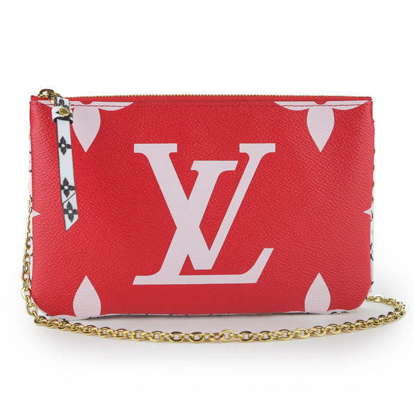 Louis Vuitton Giant Monogram Pochette Double Zip in Red and Pink - Dearluxe.com