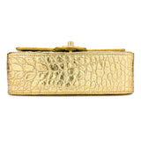 CHANEL Mini Rectangular Flap Bag in Gold Croc Embossed Calfskin - Dearluxe.com