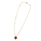 Vintage Alhambra Pendant Necklace in 18k Yellow Gold Carnelian
