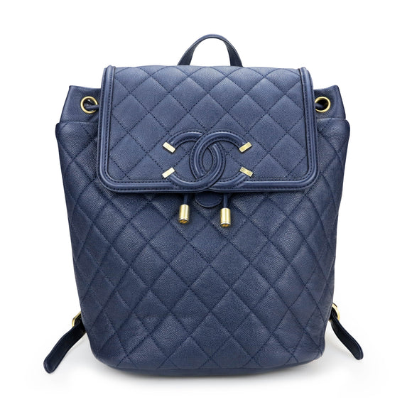 CHANEL Quilted Filigree Backpack in Navy Caviar - Dearluxe.com