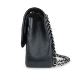 Jumbo Classic Double Flap Bag in Black Caviar