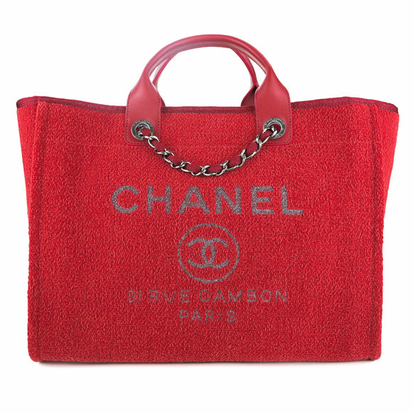 CHANEL Medium Glitter Deauville Tote in Red Lurex - Dearluxe.com