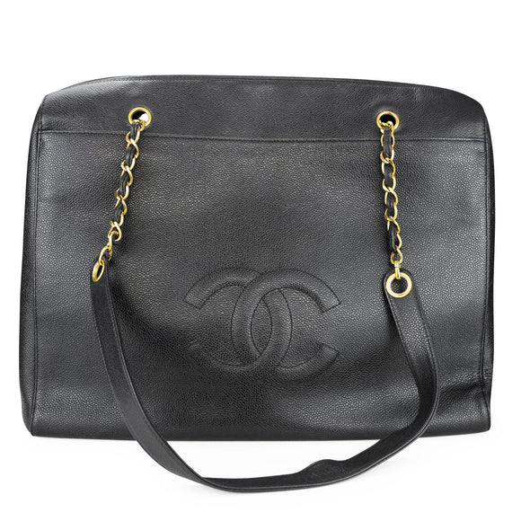 CHANEL Vintage Quilted XL Logo Shoulder Maxi Tote Bag in Black Caviar - Dearluxe.com