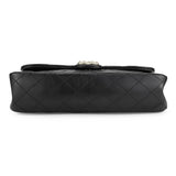 Westminster Pearl Strap Single Flap Bag in Black Lambskin