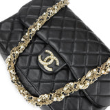 CHANEL Westminster Pearl Strap Single Flap Bag in Black Lambskin - Dearluxe.com