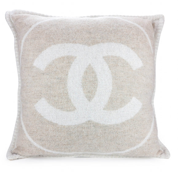 CHANEL Merino Wool Cashmere CC Pillow Cushion in Beige Off-White - Dearluxe.com