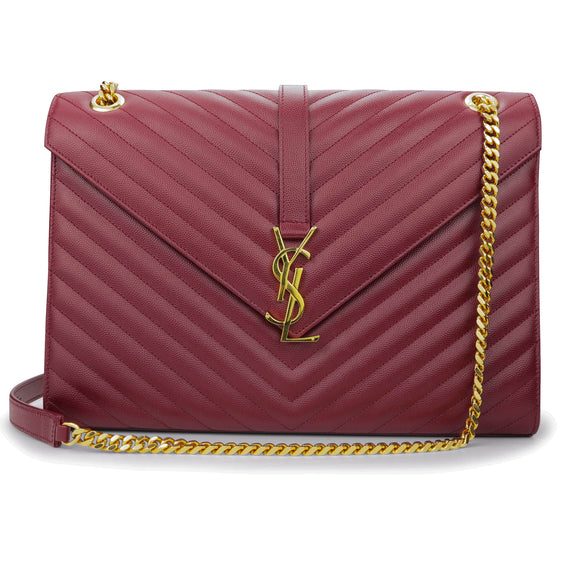 SAINT LAURENT Large Monogram Envelope Chain Shoulder Bag in Burgundy Matelassé Leather - Dearluxe.com
