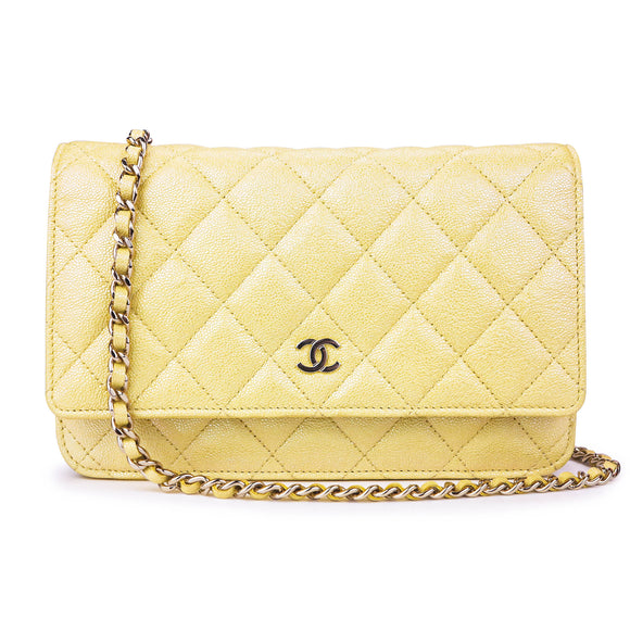 CHANEL Wallet On Chain WOC in 19S Iridescent Yellow Caviar - Dearluxe .com